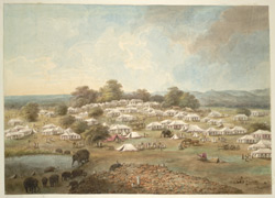 The encampment at Kashipur, with elephants being watered